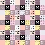 Seamless mosaic background with butterfly motif Royalty Free Stock Photo