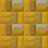 Seamless mosaic 3d pattern of coarse gold blocks Stock Image