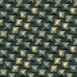 Seamless mosaic 3d pattern of scratched gold and green pyramidal blocks Stock Photos