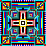 Seamless mosaic of geometric ornament with colored squares Stock Images