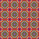 Seamless mosaic of geometric ornament with colored squares and. Illustration seamless mosaic of geometric ornament with colored squares and blue triangles Royalty Free Stock Photography