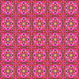 Seamless mosaic of geometric ornament with pink squares Royalty Free Stock Images