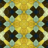 Seamless mosaic yellow blue brown floral decorative render Royalty Free Stock Photos