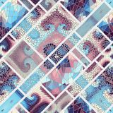 Seamless mosaic pattern. Seamless background pattern. Mosaic art pattern of rectangles of different tile textures. Vector image Royalty Free Stock Photography