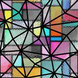 Seamless mosaic pattern. Seamless background pattern. Mosaic art pattern of triangles of different tile textures. Vector image Royalty Free Stock Photos