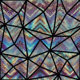 Seamless mosaic pattern. Seamless background pattern. Mosaic art pattern of triangles of different tile textures. Vector image Stock Image