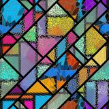 Seamless mosaic pattern Vector Illustration. Seamless background pattern. Mosaic art pattern of rectangles of different tile textures. Vector image royalty free illustration