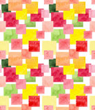 Seamless Mosaic Pattern with Watercolor Colorful Squares Stock Photos