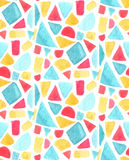 Seamless mosaic pattern with watercolor tiles. Stained glass vector background. Orange. yellow, blue and red geometry Stock Photography
