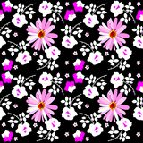 Seamless motley floral pattern with rose, daisy and bell flowers on black background.  vector illustration