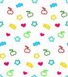 Seamless motley pattern with stars, hearts, apples and candies at white background. Royalty Free Stock Photo