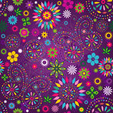 Seamless motley violet pattern. Seamless motley vivid violet floral pattern with colorful flowers, butterflies and decorative circles (vector royalty free illustration