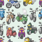 Seamless motorcycle pattern. Drawing Stock Photography