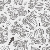 Seamless motorcycle pattern. Cartoon vector illustration Stock Images