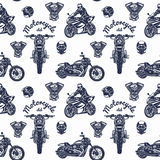 Seamless motorcycle pattern vector illustration Royalty Free Stock Photography