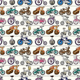 Seamless motorcycles pattern Stock Photography