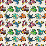 Seamless motorcycles pattern. Drawing Royalty Free Stock Photo