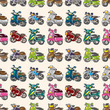 Seamless motorcycles pattern. Cartoon vector illustration Royalty Free Stock Image