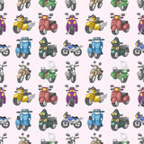 Seamless motorcycles pattern. Cartoon vector illustration Royalty Free Stock Photography