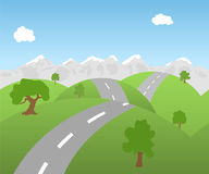 Seamless mountain landscape with road Stock Photo
