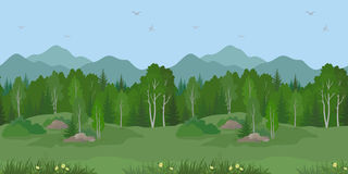 Seamless Mountain Landscape with Trees Stock Images