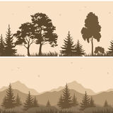 Seamless Mountain Landscape with Trees Silhouettes Royalty Free Stock Image