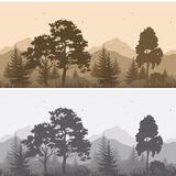 Seamless Mountain Landscape with Trees Silhouettes. Set Seamless Horizontal Landscapes, Mountains with Trees and Grass, Birds in the Sky, Gray and Brown Stock Photos
