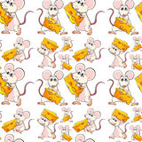 Seamless mouse with cheese Stock Photography