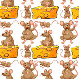 Seamless mouse and cheese slice Royalty Free Stock Photos