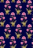 Seamless mughal floral pattern with navy background stock illustration