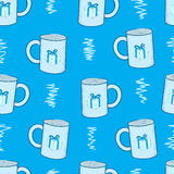 Seamless mugs with a gift Stock Photos
