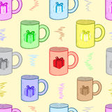 Seamless mugs with gifts Royalty Free Stock Photos