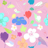 Seamless multi-colored flowers in the thumbnail style Royalty Free Stock Photography