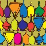 seamless multicolor bottles isolated on orange Royalty Free Stock Photo