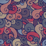 Seamless multicolor curly pattern in subdued colors Royalty Free Stock Image