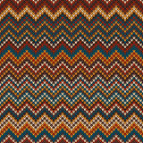 Seamless Multicolor Knitted Pattern. Geometric Zigzag background Stock Image
