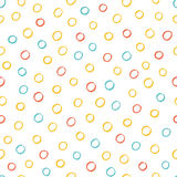 Seamless multicolored baby vector free hand doodle circle texture, dry brush ink art. Royalty Free Stock Photography