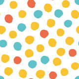 Seamless multicolored baby vector free hand doodle polka dot texture, dry brush ink art. Stock Image