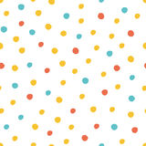 Seamless multicolored baby vector free hand doodle polka dot texture, dry brush ink art. Stock Photos