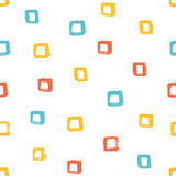 Seamless multicolored baby vector free hand doodle square texture, dry brush ink art. Stock Photo