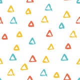 Seamless multicolored baby vector free hand doodle texture with triangles, dry brush ink art. Stock Photography