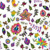 Seamless multicolored beautiful flower pattern. Royalty Free Stock Photo