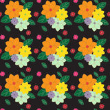 Seamless multicolored floral pattern on dark. Stock Images