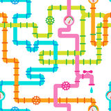 Seamless multicolored pipelines with valves and counters Royalty Free Stock Images