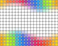 Seamless multicolored polka dot pattern over grey background. With empty space for your text Royalty Free Stock Photos