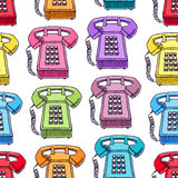 Seamless multicolored vintage phones Royalty Free Stock Images