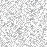Seamless multimedia icons pattern on white background. Seamless multimedia icons pattern grey on white background Royalty Free Stock Photos