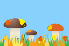 Seamless of mushroom in grass. Royalty Free Stock Photos