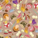 Seamless Mushrooms pattern Stock Photos