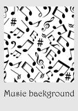 Seamless music background with notes. Seamless music background with notes, treble clef, music symbols in monochrome design, vector EPS 10 Stock Photos